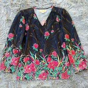 Vintage Apple Corps California Floral Blouse